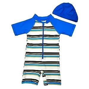 Aschlop sun suit swim baby boy swim cap