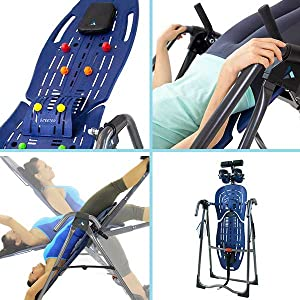 acupressure nodes and lumbar bridge included, stretch max and traction handles