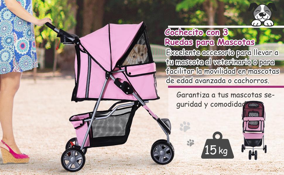 Cochecito Plegable Mascotas 75x45x97cm Perros Gatos Carrito Ruedas giran 360º Rosa