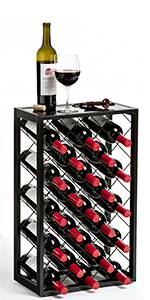 free standing iron metal 23 bottle wine rack with shelf glass top