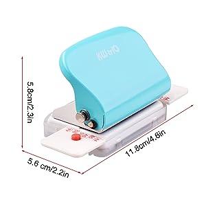 Topuality Perforadora de Papel de 6 agujeros Perforadora de metal de mano Capacidad de 5 hojas 6 mm para A4 A5 B5 Cuaderno de apuntes Planificador diario