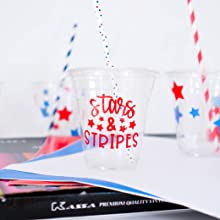 plastic clear party cups decorated with stars & stripes made using Kassa vinyl sheets