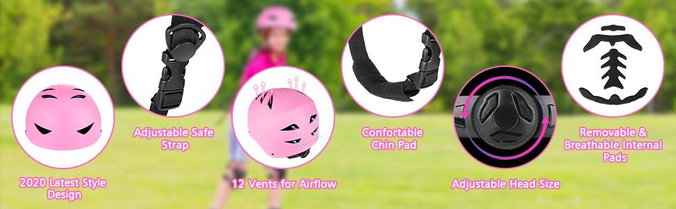 Pink Skateboard bike Helmet  kids girls boys youth knee elbow wrist guards pads protective scooter