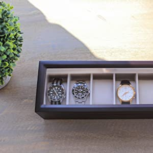 magnetic closure cream interior wood solid construction 6 slot luxurious finish real glass