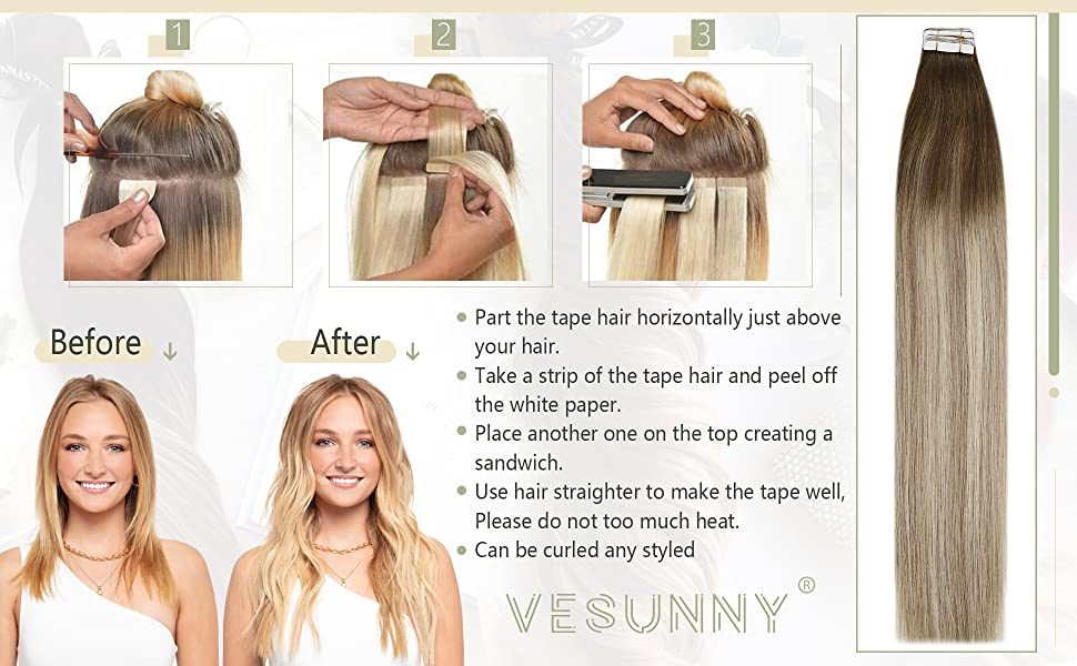 Hair Extensions Brown to Blonde Ombre Tape in Extensions