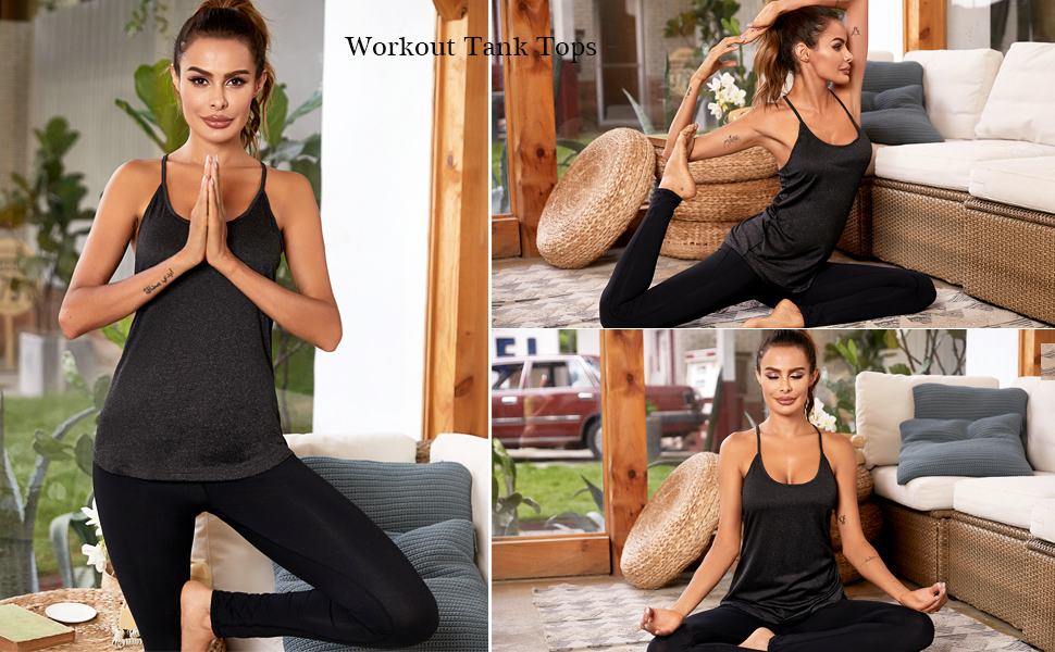 ADOME Workout Tank Tops for Women Yoga Tops Athletic Open Back Strappy Running Shirts