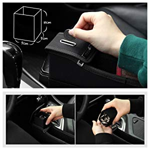 Front Seat Filler Gap Space Storage Drink Bottle Cup Holder Coin Collector Leather 2PCS RH+LH Brown//Black Black Dealsplaza Side Pocket Organizer for Car