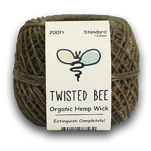 Twisted Bee 100% Organic Hemp Wick with Natural Beeswax Coating