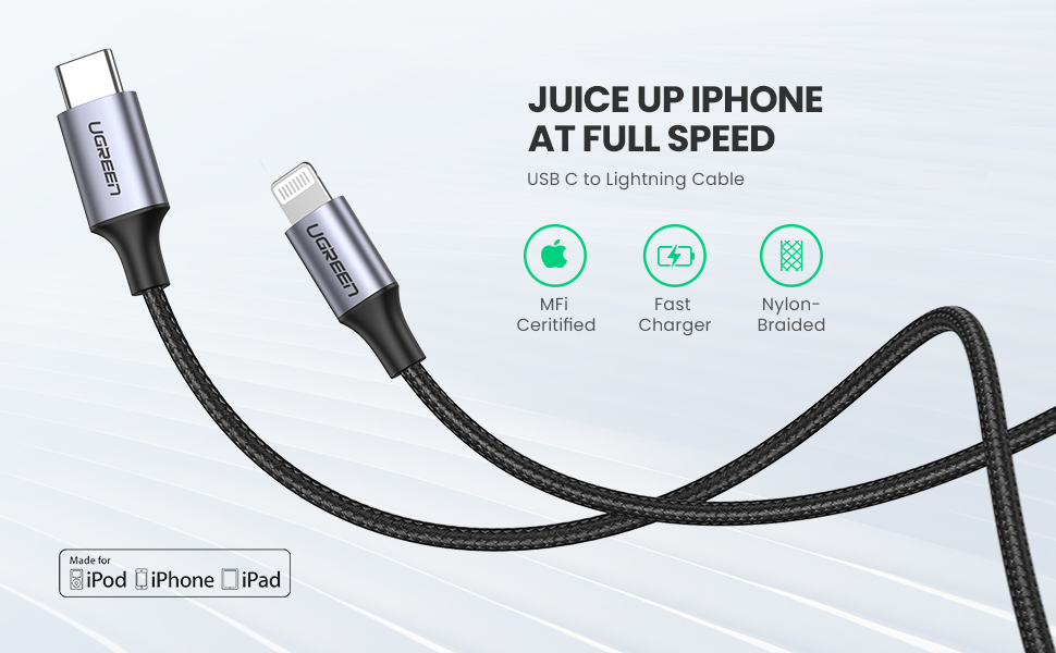 usb c to lightning fast charging cable
