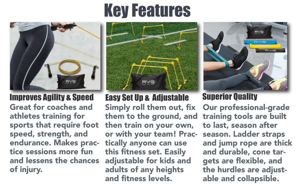 agility ladder soccer cones training equipment set drills speed hurdles football trainer track field