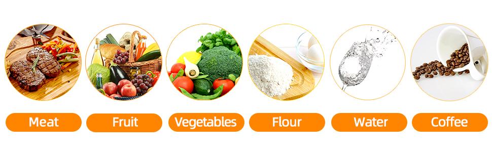 apply to meat,fruit,vegetables,flour,water,milk tea....range use