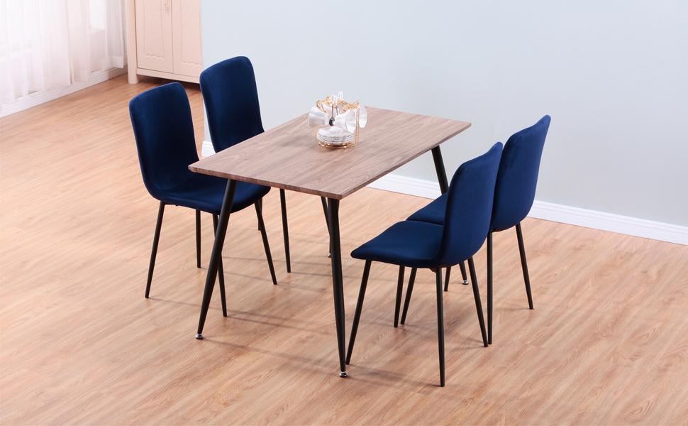 GOLDFAN Table de Salle à Manger en Bois Table Design Cuisine Salon Rectangle Plateau