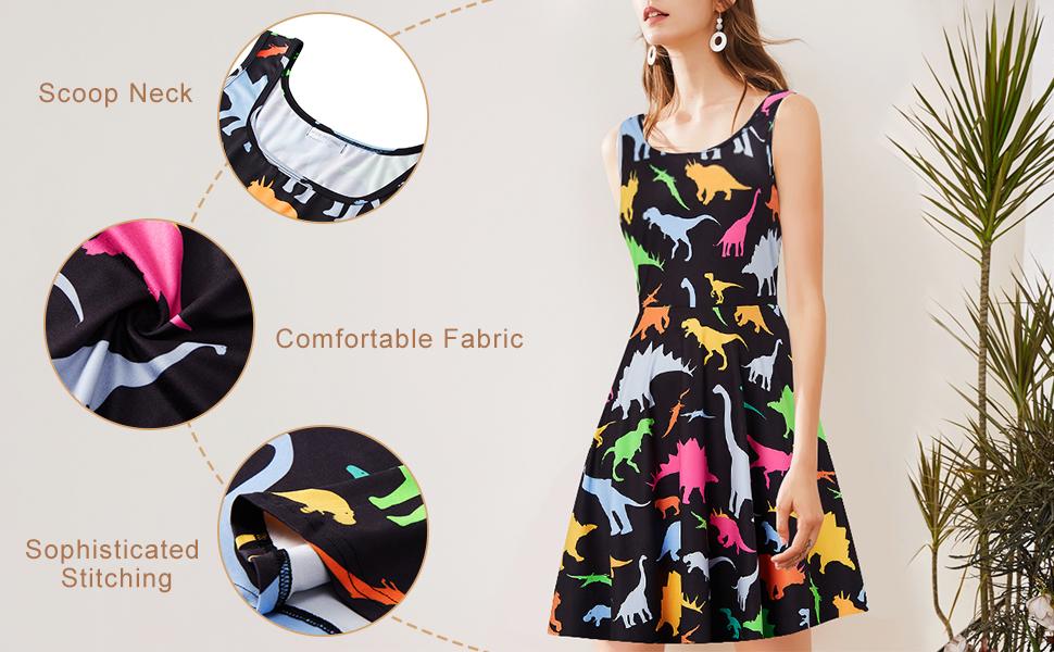 Women's Sleeveless Dress Summer Beach Casual Scoop Neck Print Flared A Line Stretchy Sundress