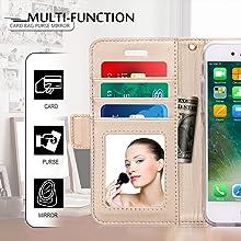 iphone8 ケース 手帳型  iphone7ケース WWW 透かし彫り模様 高級PUレザー カード収納 マグネット式 スタンド機能 ストラップ付き 鏡付き スマホケース