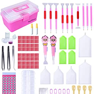 Glue Plastic Tray and Diamond Embroidery Box for DIY Tweezers YEESAM ART 24 Pieces Kits 5D DIY Diamond Painting Tools Accessories Full Drill Cross Stitch Set Including Sticky Pen