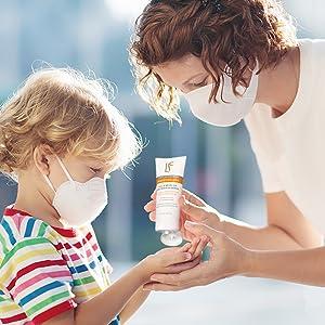 Sanitizing child's hands