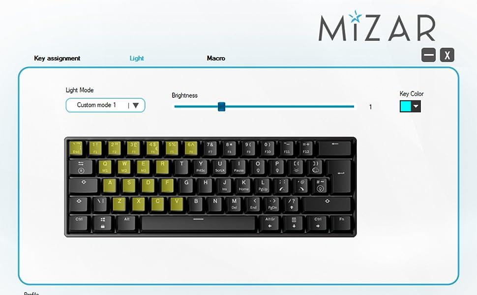 Customize your keyboard mizar mz60