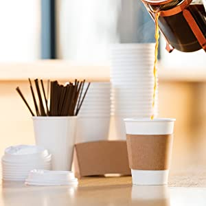 coffee cups with lids sleeves stirrers Average Joe disposable
