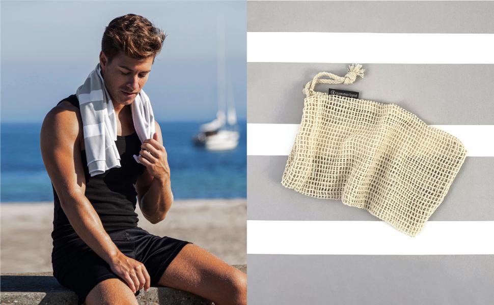 strandtuch Streifenoptik leicht und sandabweisend backpacking swimmers saunatuch mikrofaser