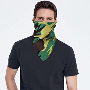 Green Camouflage Face Cover Scarf