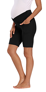 Maternity Low Rise Stretch Running Workout Shorts with Pocket