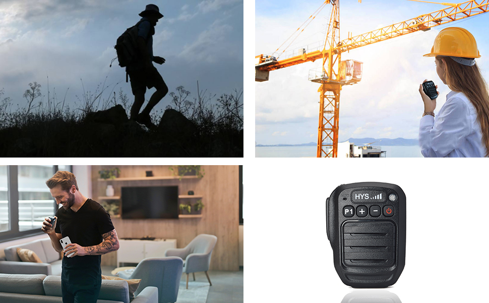HYS Bluetooth Wireless Handheld Speaker Microphone Waterproof(IP66) Noise Reduction Mic for Andriod