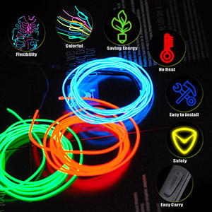 9ft Lychee RR-9FT-3M-B Neon Glowing Strobing Electroluminescent Wire Blue by lychee