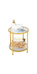 2-Tier Glass End Table