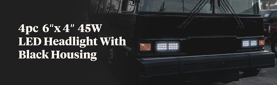 "4pc 45W 6""x4"" LED Headlight with Black Housing on Black Bus."