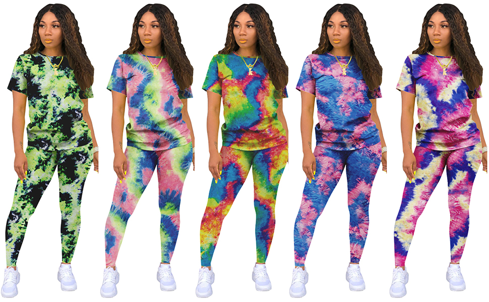 womens tie dye 2piece outfit