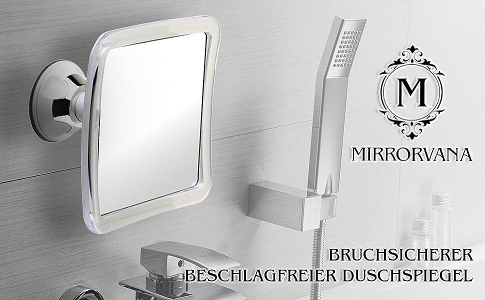 beschlagfreier Duschspiegel Hfior quadratischer Make-up-Spiegel tragbarer Badezimmerspiegel