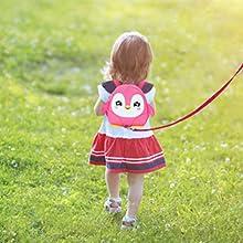 Penguin backpack + leash.
