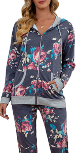 GRECERELLE Women's Floral Long Sleeve Casual Sweatshirts Tunic Tops With Pockets