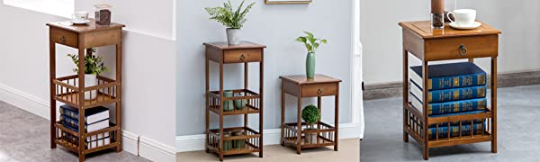 Bamboo 2-Tier Bedside  End Table with Drawer