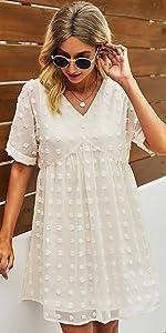 Summer Women Mini Dress Short Sleeves Sexy V Neck Flowy Dress Swiss Dot Faux Short Loose Fit Dress