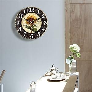 Retro Sunflower Silent Non Ticking Clock Desktop Wall Art Decor Indoor Home Decorations