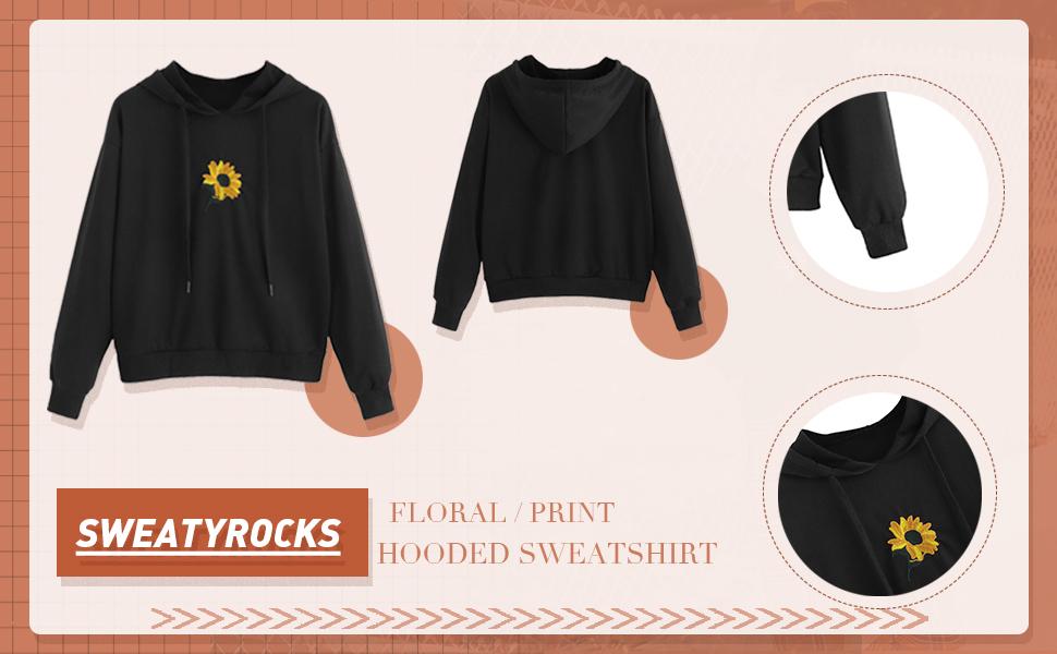 SweatyRocks Womens Floral Print Hoodie Sweatshirt