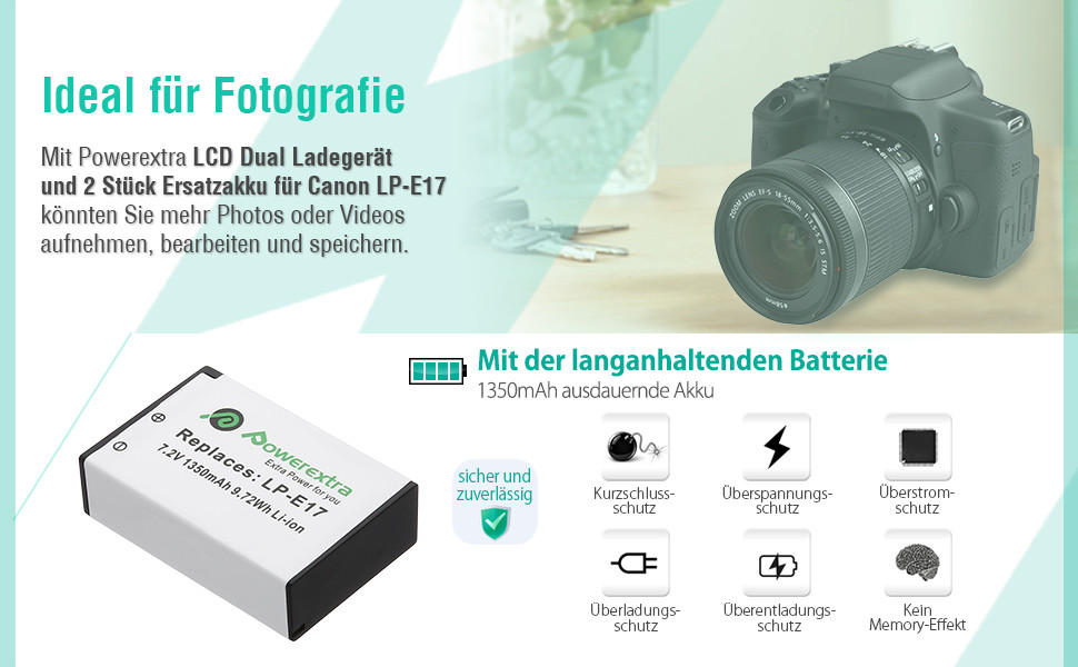 Powerextra Lcd Dual Charger With 2 Replacement Battery Camera Photo