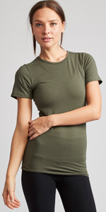 army green crew neck crewneck tee tshirt t-shirt women womens tall tunic cotton spandex short sleeve