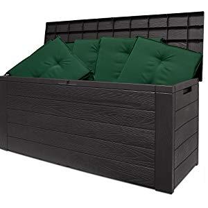 baúl de madra exterior interior arcón cofre de almacenamiento almacenaje marrón con tapa plástico