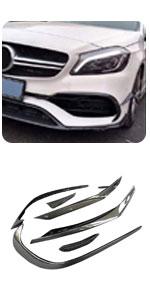 Benz W176 A Class A45 AMG A200 A250 Sport Carbon Front Splitter Vents Fins Trim Canard Cover Intake