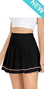 Womens Mini Pleated Skirt High Waisted Skater Tennis Skirts Golf Skort with Shorts School Girl
