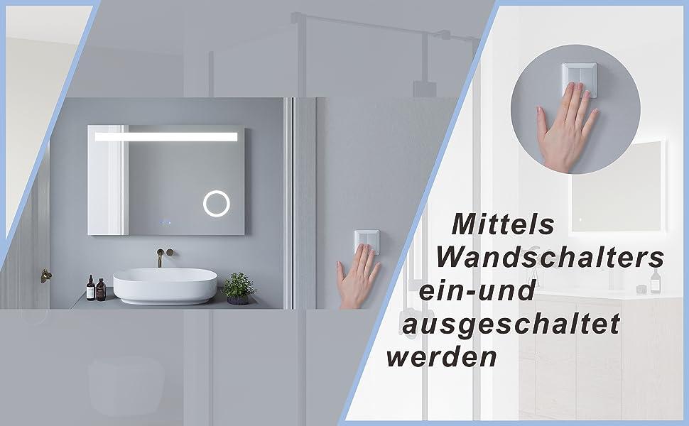 LED Badspiegel mit integriertem Kosmetikspiegel 100x70 DALES Typ B