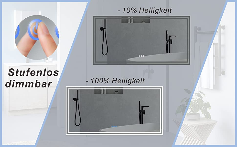 LED Bad Spiegel mit Licht Beleuchtung gross 140x70cm ESSENS Typ C
