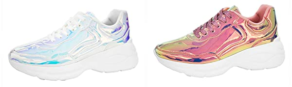 c3778f804c2b0 LUCKY STEP Women Holographic Iridescent Metallic Pink White Shoes ...