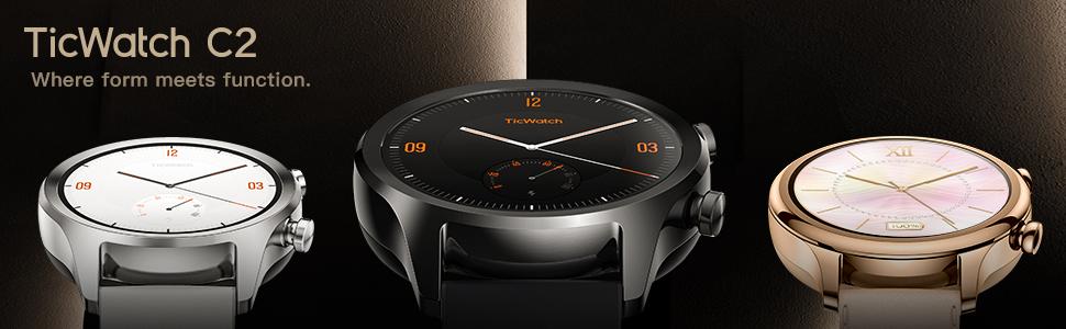 Ticwatch Smartwatch Reloj Inteligente y clásico C2 con Sistema operativo Wear OS de Google, IP68 Resistente al Agua y Sudor, Google Pay, Compatible ...