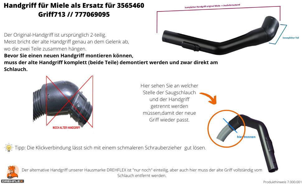EXQUISIT C Schlauchgriff Rohr i Staubsauger Handgriff Ersatz für Miele S248