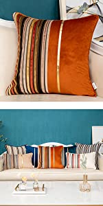 orange patchwork pillow cover