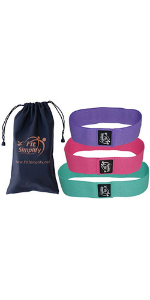 fit simplify exercise resistance hip bands fabric workout bands set of 3 with bag home fitness