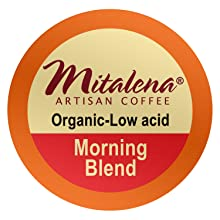 breakfast blend, coffee pods, mitalena, organic, arabica, single serve, brew cups